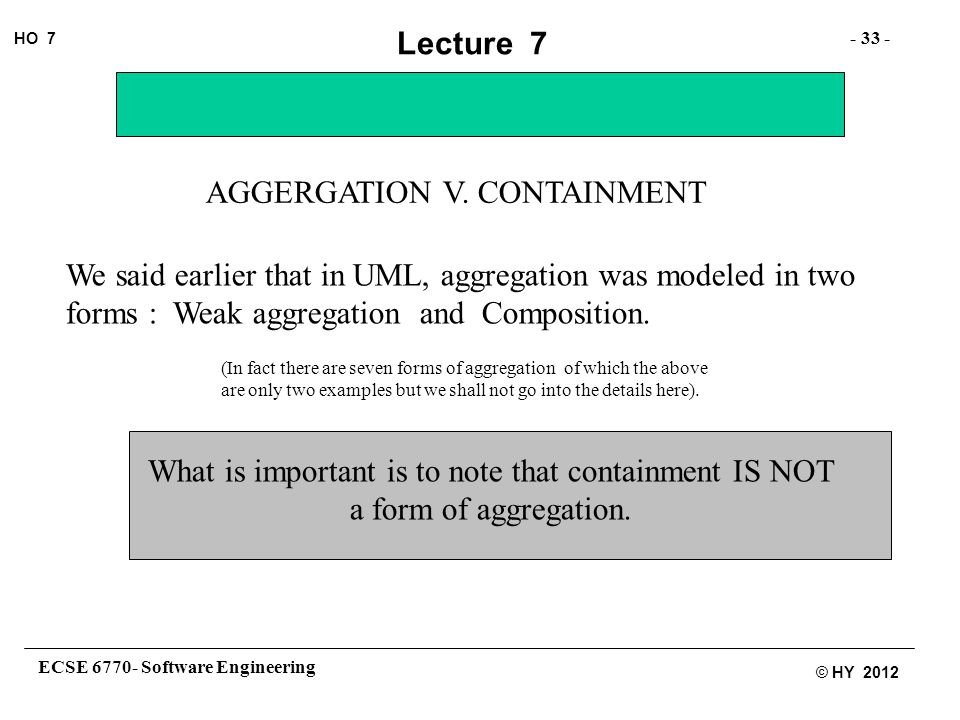 ECSE 6770- Software Engineering - 33 - HO 7 © HY 2012 Lecture 7 AGGERGATION V.