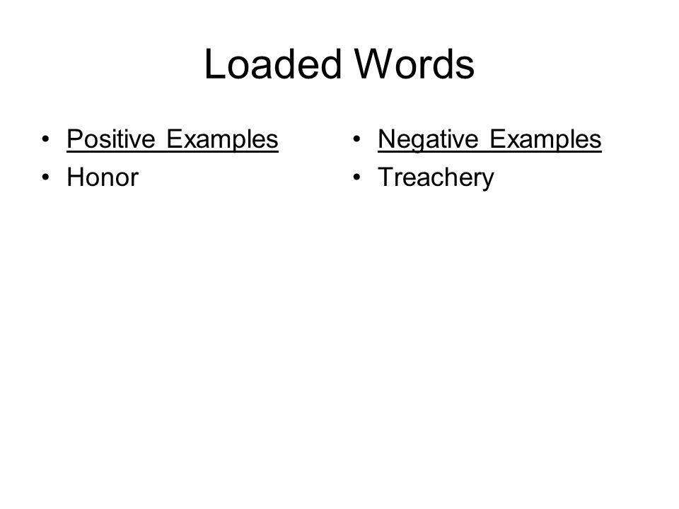Loaded Words Positive Examples Honor Negative Examples Treachery