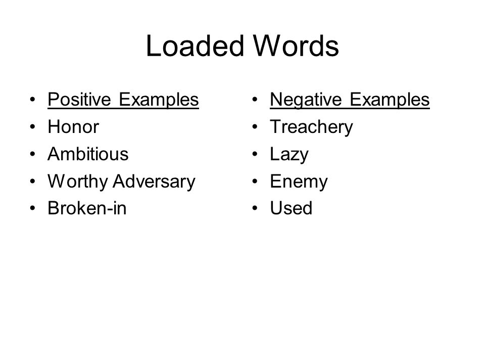 Loaded Words Positive Examples Honor Ambitious Worthy Adversary Broken-in Negative Examples Treachery Lazy Enemy Used