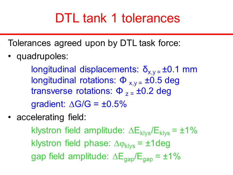 DTL tank 1 tolerances Tolerances agreed upon by DTL task force: quadrupoles: longitudinal displacements: δ x,y = ±0.1 mm longitudinal rotations: Φ x,y = ±0.5 deg transverse rotations: Φ z = ±0.2 deg gradient:  G/G = ±0.5% accelerating field: klystron field amplitude:  E klys /E klys = ±1% klystron field phase:  φ klys = ±1deg gap field amplitude:  E gap /E gap = ±1%