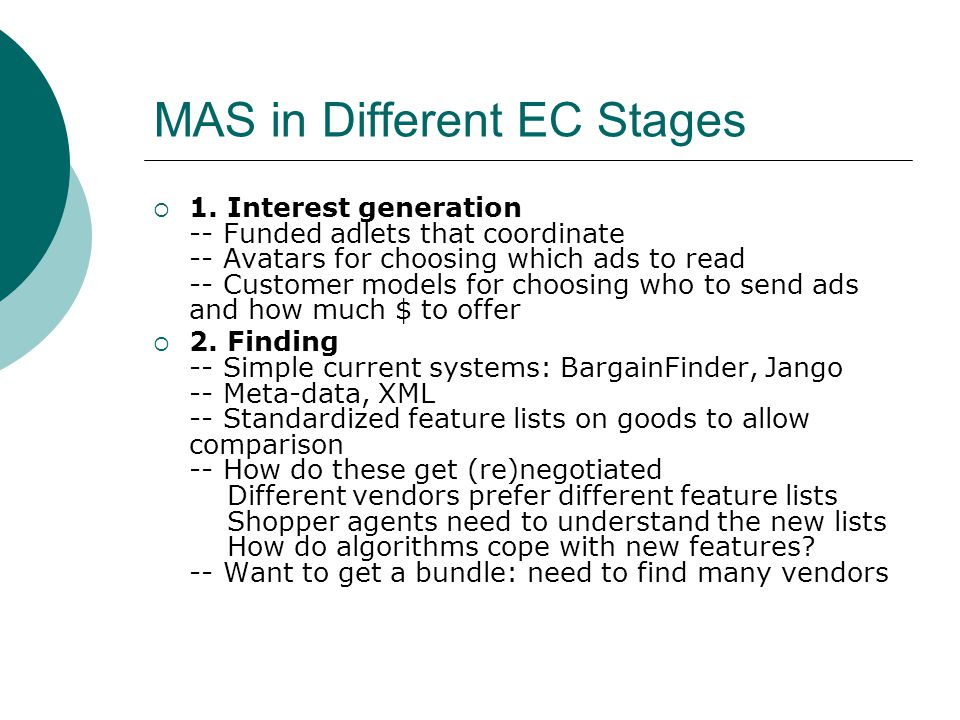 MAS in Different EC Stages  1.