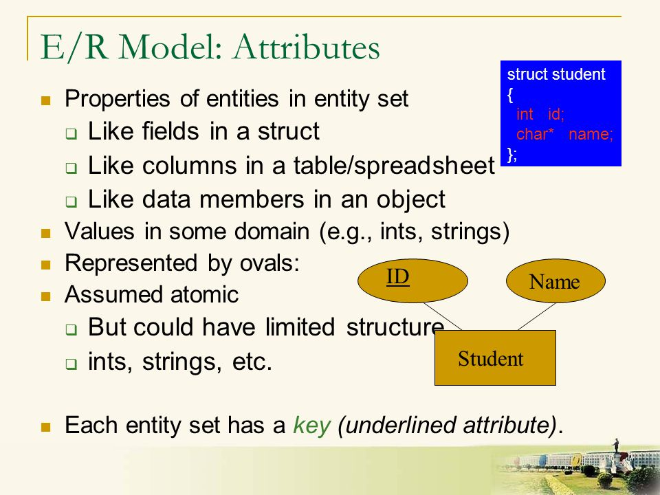 7 E/R Model: Attributes Properties of entities in entity set  Like fields in a struct  Like columns in a table/spreadsheet  Like data members in an object Values in some domain (e.g., ints, strings) Represented by ovals: Assumed atomic  But could have limited structure  ints, strings, etc.