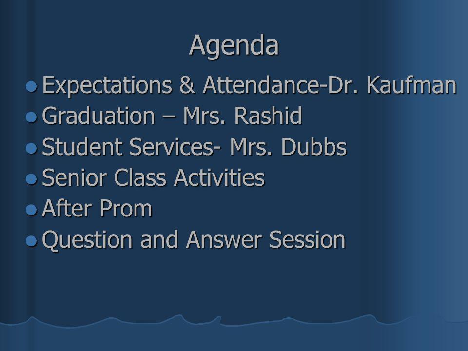 Agenda Expectations & Attendance-Dr. Kaufman Expectations & Attendance-Dr. Kaufman Graduation – Mrs. Rashid Graduation – Mrs. Rashid Student Services-