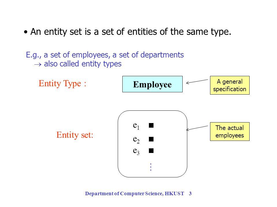 Department of Computer Science, HKUST 43 Translating ERDs into Tables Translating ERDs into Tables