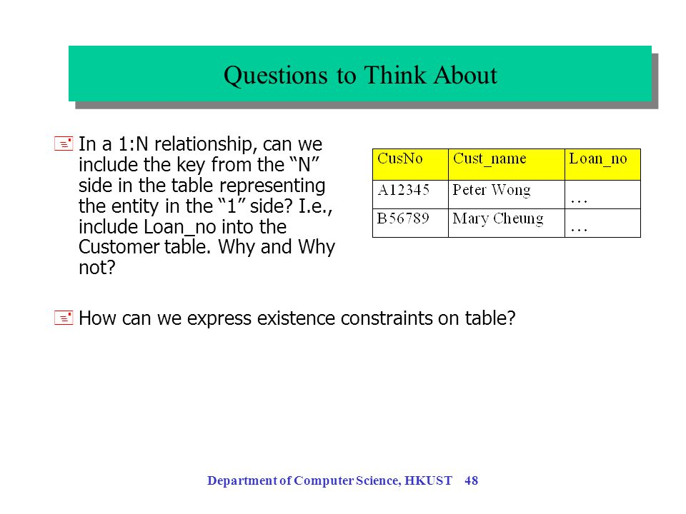 Department of Computer Science, HKUST 47 +For 1:N and 1:1 relationships, you can create a table for each relationship customer cust-no cust-name A1234