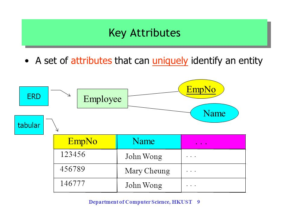 Department of Computer Science, HKUST 8 Derived attribute: computed from other attributes Employee Age Bonus