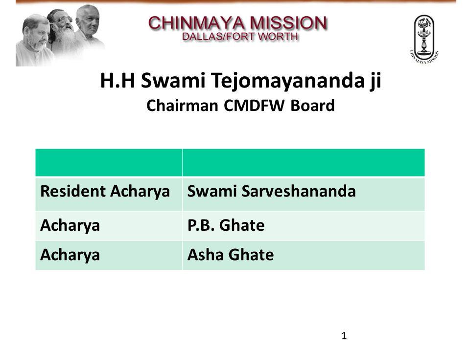 CMDFW A/V Team H.H Swami Tejomayananda ji Chairman CMDFW Board Resident AcharyaSwami Sarveshananda AcharyaP.B.