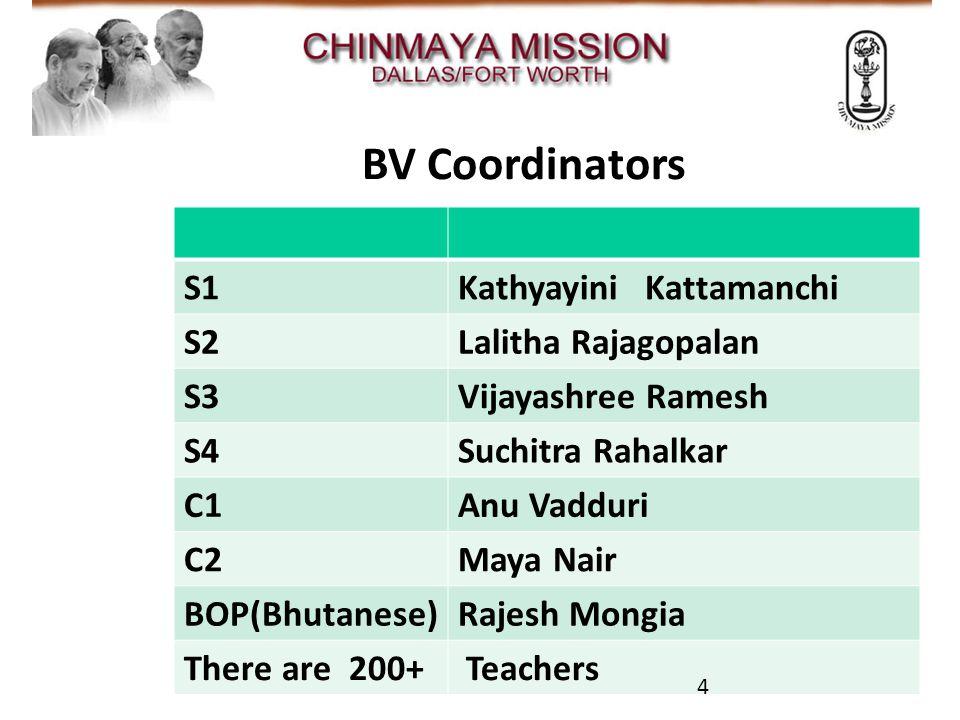 CMDFW A/V Team BV Coordinators S1Kathyayini Kattamanchi S2Lalitha Rajagopalan S3Vijayashree Ramesh S4Suchitra Rahalkar C1Anu Vadduri C2Maya Nair BOP(Bhutanese)Rajesh Mongia There are 200+ Teachers 4