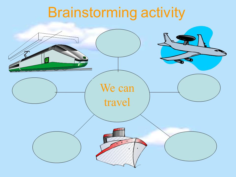 Brainstorming activity We can travel
