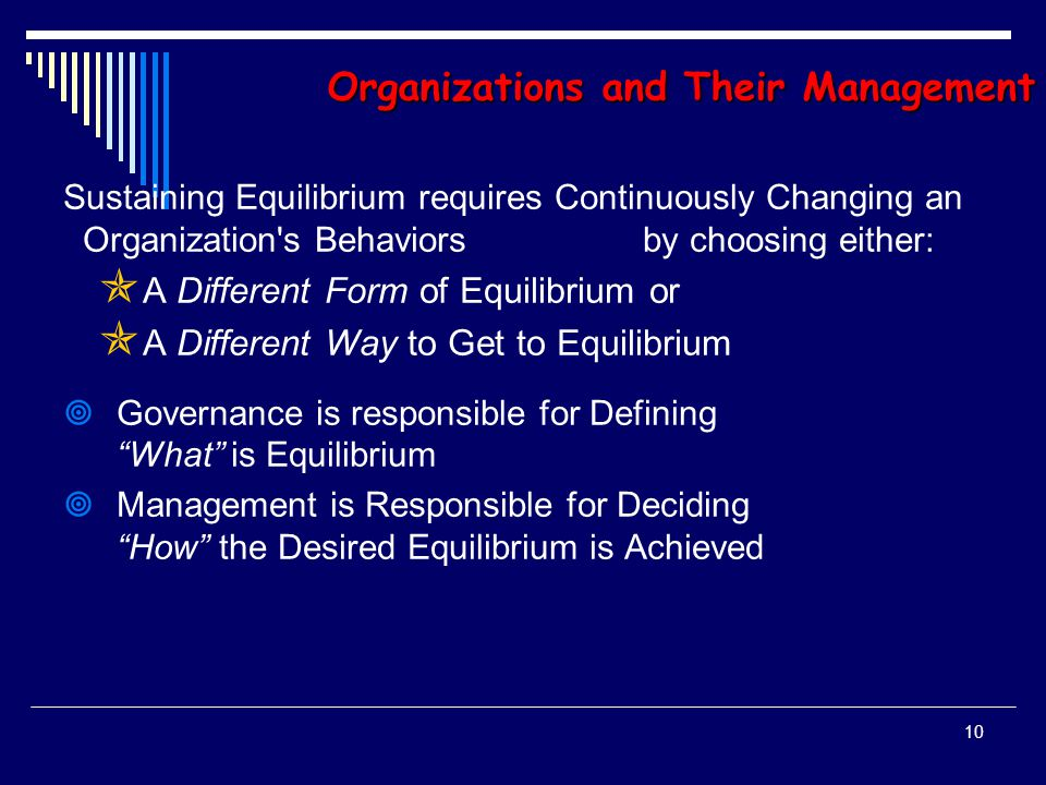 9 Organizations and Their Management Organizational Functions PURPOSE: Seek and Sustain Equilibrium ( Organizing ) that Reconciles Conflicting Interests of Input Suppliers and Output Consumers PROCESS: Politically-Supported and Appropriately- Informed Decision-making ESSENTIAL RESOURCES: Financial Capital Financial Capital Human Capital Human Capital