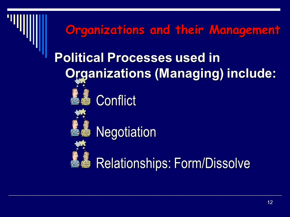 11 Organizations and Their Management Effectively Managing Organizations Requires Understanding and Using Political Systems Concepts influencing these Political Functions include:  Power and Knowledge  Social Networks  Dominant Coalitions
