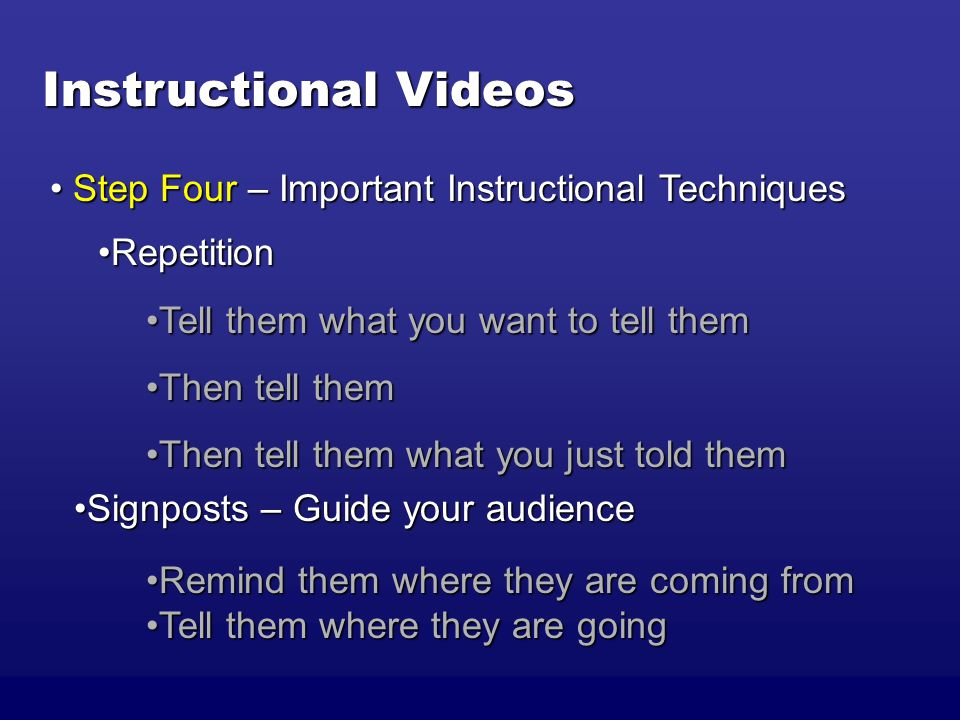 Instructional Videos RepetitionRepetition Tell them what you want to tell themTell them what you want to tell them Then tell themThen tell them Then tell them what you just told themThen tell them what you just told them Step Four – Important Instructional Techniques Step Four – Important Instructional Techniques Signposts – Guide your audienceSignposts – Guide your audience Remind them where they are coming fromRemind them where they are coming from Tell them where they are goingTell them where they are going
