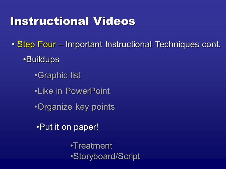 Instructional Videos BuildupsBuildups Graphic listGraphic list Like in PowerPointLike in PowerPoint Organize key pointsOrganize key points Step Four – Important Instructional Techniques cont.