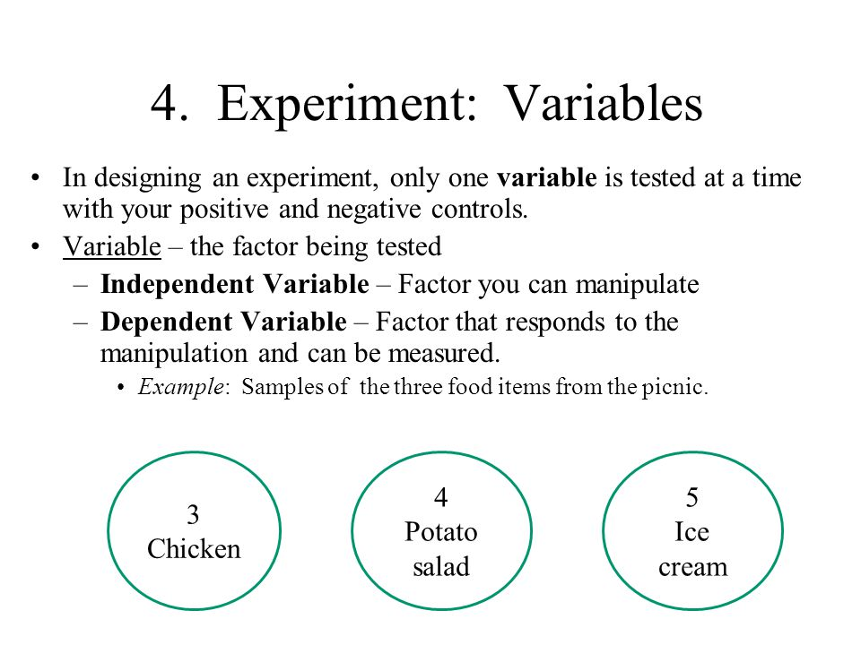 4. Experiment: Variables In designing an experiment, only one variable is tested at a time with your positive and negative controls. Variable – the fa