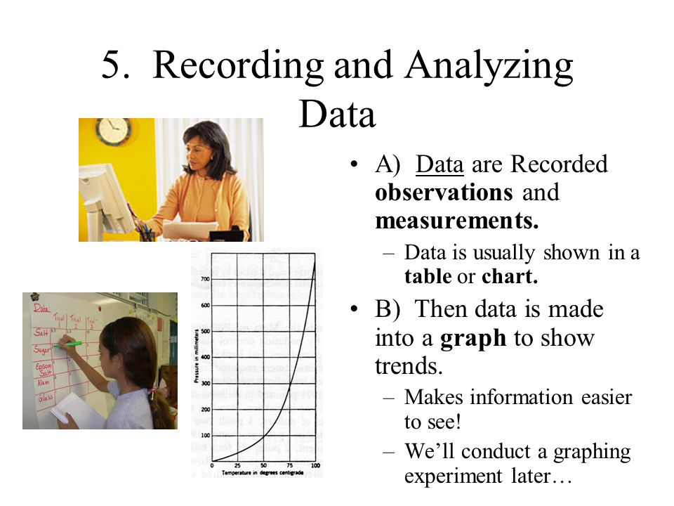 5.Recording and Analyzing Data A) Data are Recorded observations and measurements.