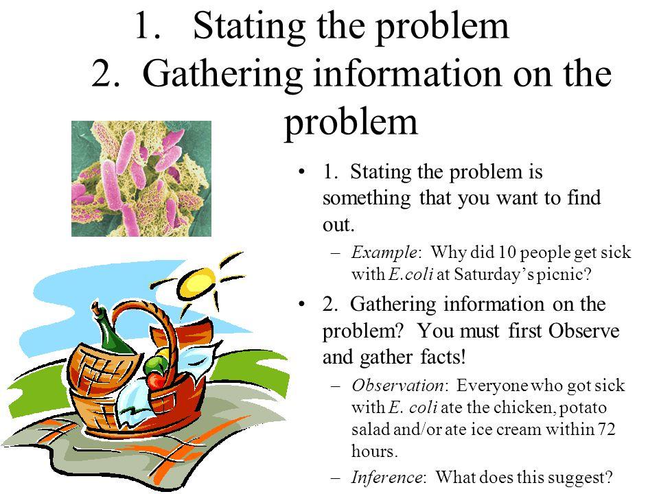 1.Stating the problem 2.Gathering information on the problem 1.