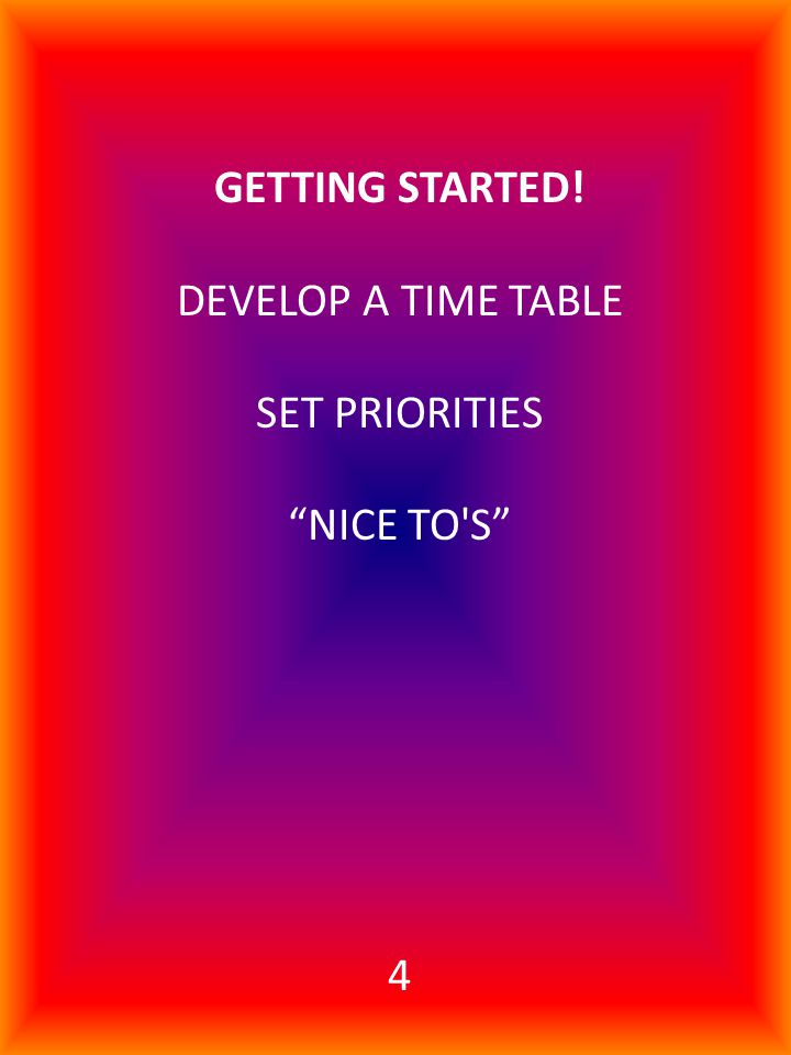 GETTING STARTED! DEVELOP A TIME TABLE SET PRIORITIES NICE TO S 4