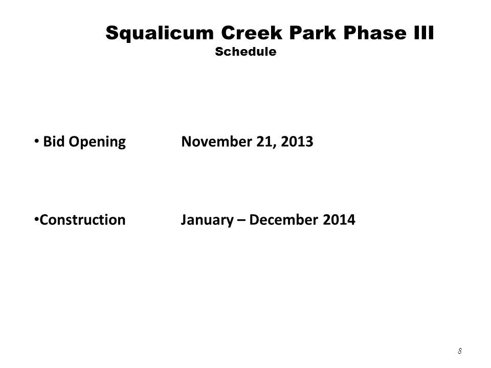 8 Bid Opening November 21, 2013 ConstructionJanuary – December 2014 Squalicum Creek Park Phase III Schedule