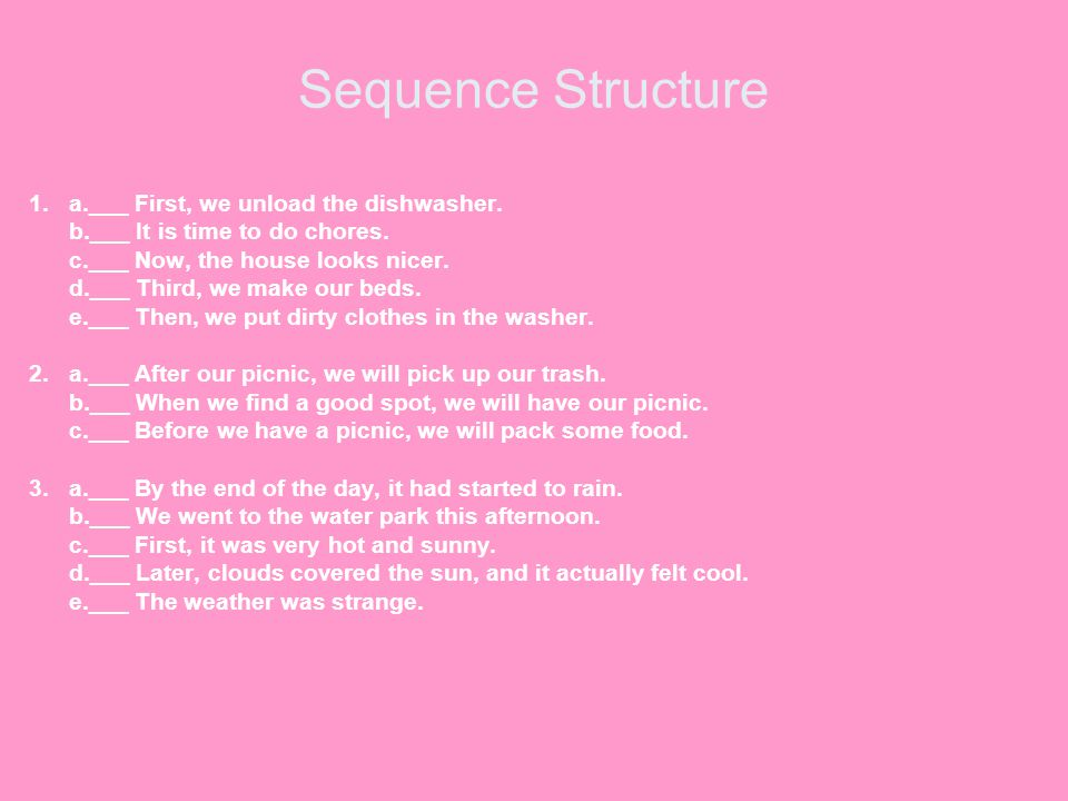 Sequence Structure 1. a.___ First, we unload the dishwasher.