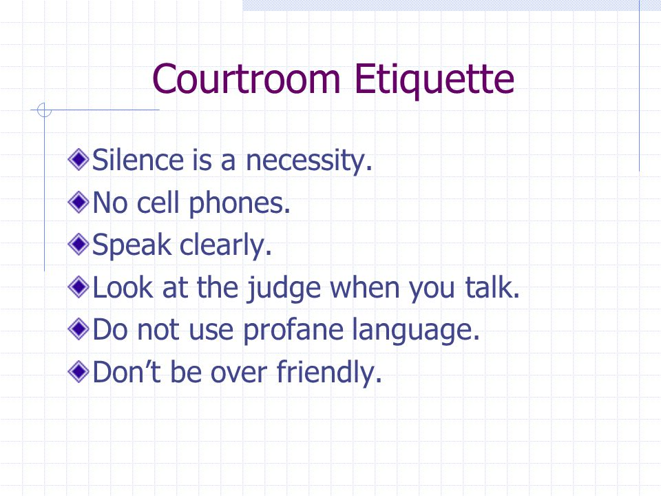 Courtroom Etiquette Silence is a necessity. No cell phones. Speak clearly. Look at the judge when you talk. Do not use profane language. Don't be over