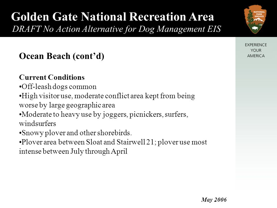 Golden Gate National Recreation Area DRAFT No Action Alternative for Dog Management EIS May 2006 Ocean Beach (cont'd) Current Conditions Off-leash dogs common High visitor use, moderate conflict area kept from being worse by large geographic area Moderate to heavy use by joggers, picnickers, surfers, windsurfers Snowy plover and other shorebirds.