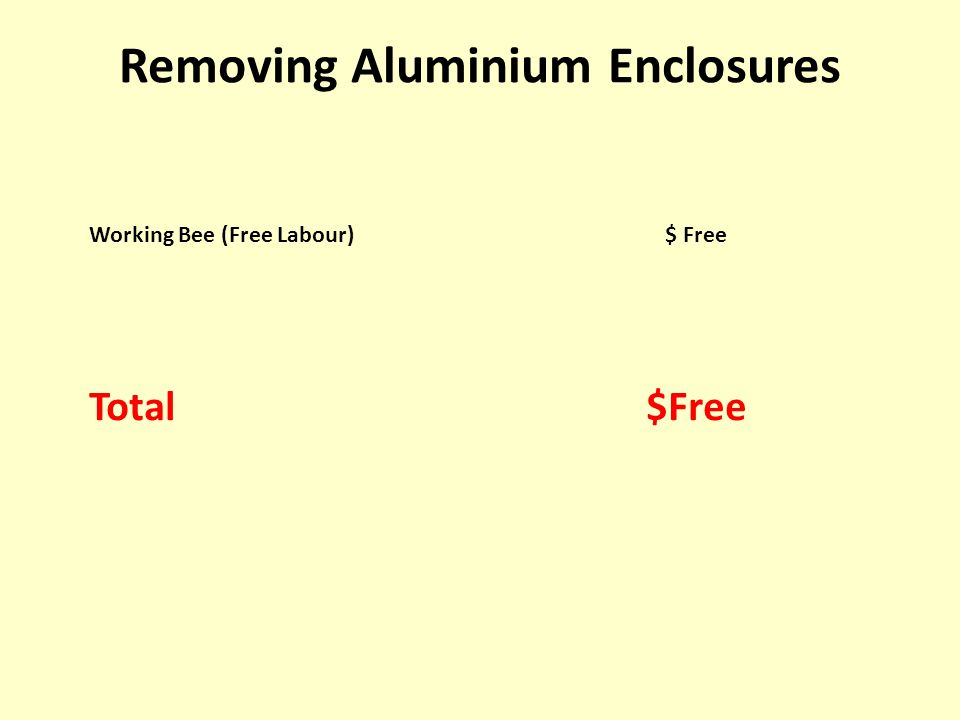 Working Bee (Free Labour)$ Free Total $Free Removing Aluminium Enclosures