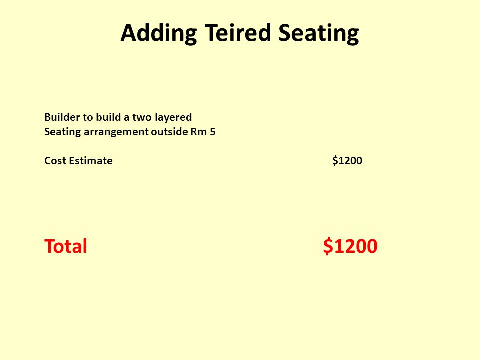 Builder to build a two layered Seating arrangement outside Rm 5 Cost Estimate $1200 Total $1200 Adding Teired Seating