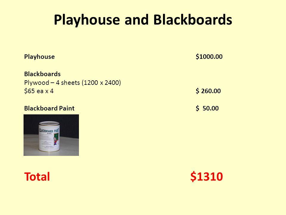 Playhouse$1000.00 Blackboards Plywood – 4 sheets (1200 x 2400) $65 ea x 4$ 260.00 Blackboard Paint$ 50.00 Total $1310 Playhouse and Blackboards