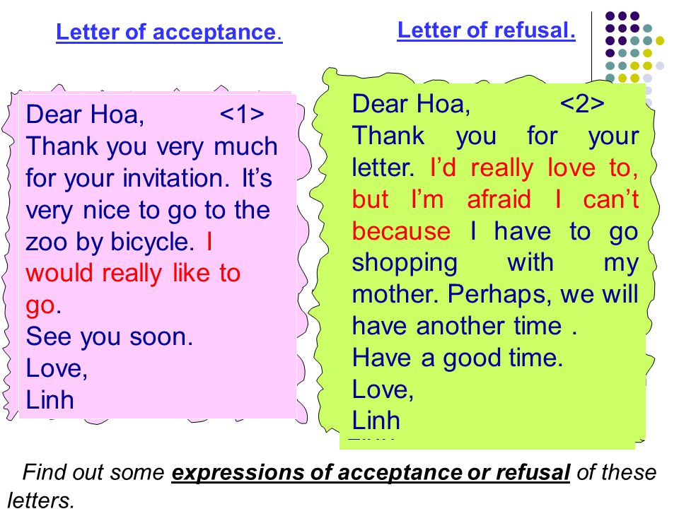Letter of acceptance. Dear Hoa, Thank you for your letter. I'd really love to, but I'm afraid I can't because I have to go shopping with my mother. Pe