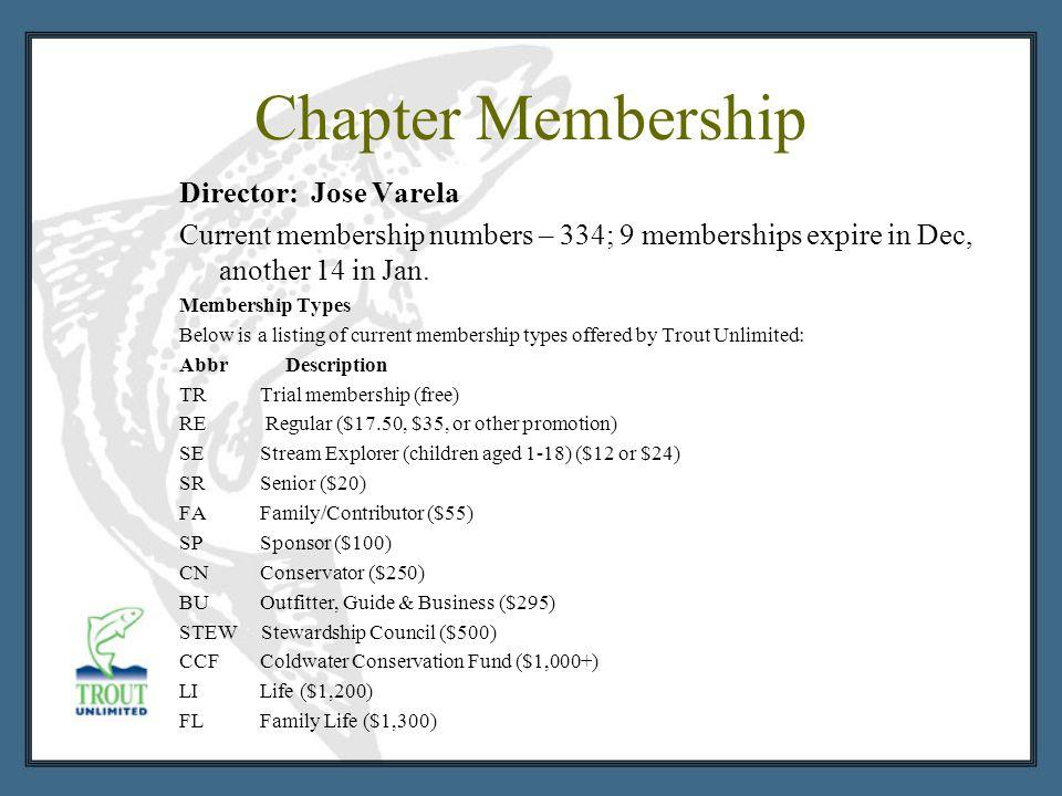 Chapter Membership Director: Jose Varela Current membership numbers – 334; 9 memberships expire in Dec, another 14 in Jan. Membership Types Below is a