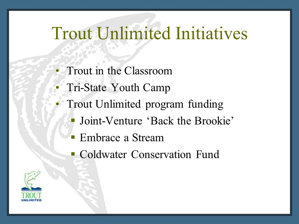 Trout Unlimited Initiatives Trout in the Classroom Tri-State Youth Camp Trout Unlimited program funding  Joint-Venture 'Back the Brookie'  Embrace a Stream  Coldwater Conservation Fund