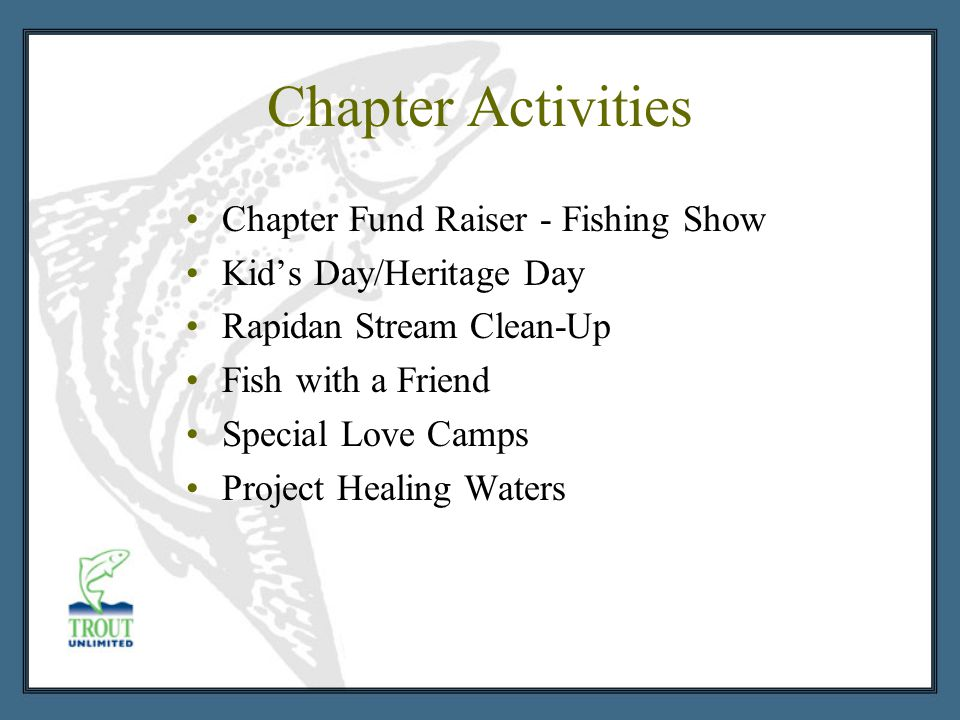 Chapter Activities Chapter Fund Raiser - Fishing Show Kid's Day/Heritage Day Rapidan Stream Clean-Up Fish with a Friend Special Love Camps Project Healing Waters