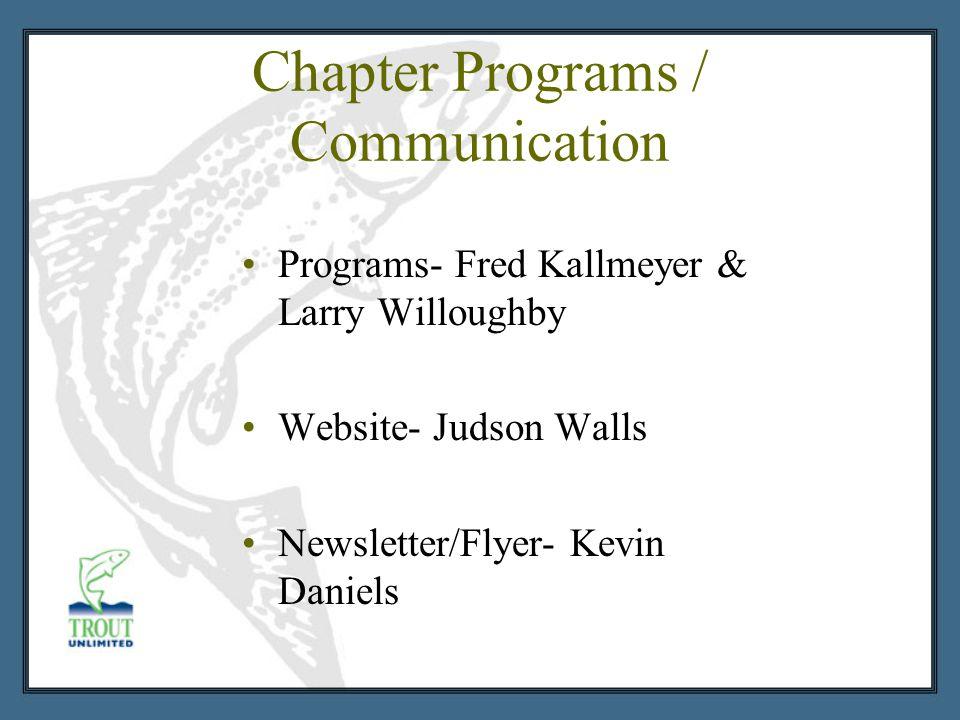 Chapter Programs / Communication Programs- Fred Kallmeyer & Larry Willoughby Website- Judson Walls Newsletter/Flyer- Kevin Daniels