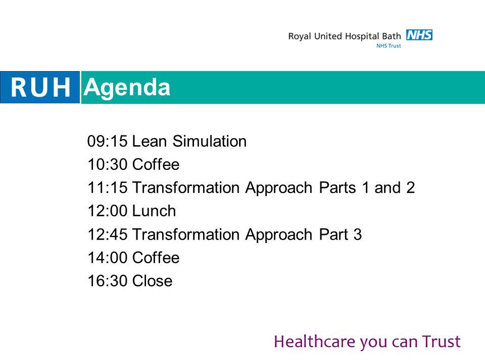 Agenda 09:15 Lean Simulation 10:30 Coffee 11:15 Transformation Approach Parts 1 and 2 12:00 Lunch 12:45 Transformation Approach Part 3 14:00 Coffee 16:30 Close