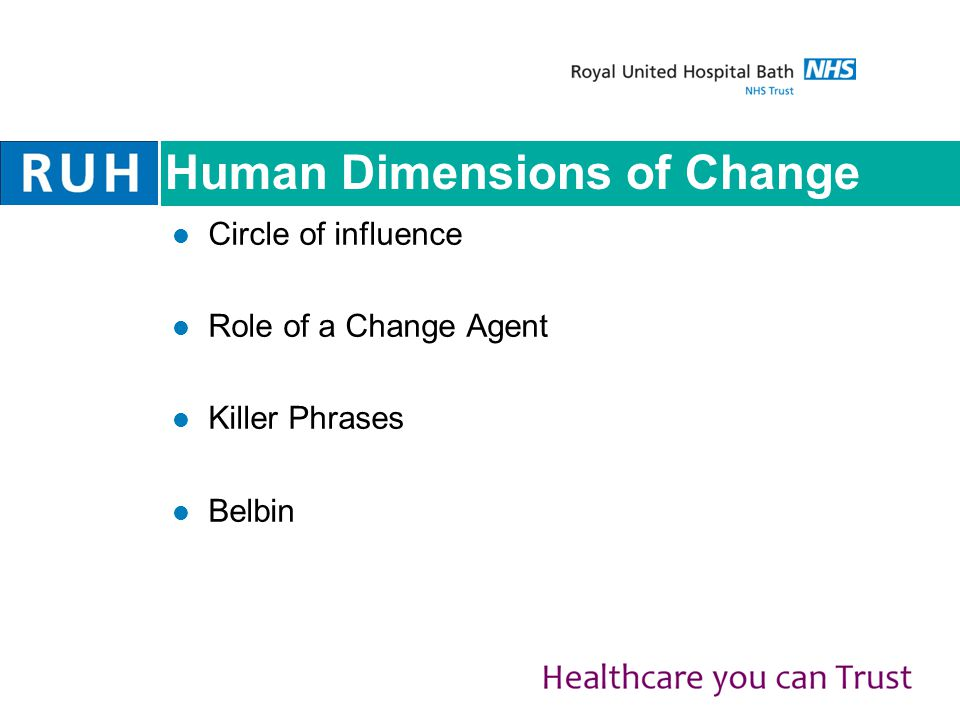 Human Dimensions of Change Circle of influence Role of a Change Agent Killer Phrases Belbin