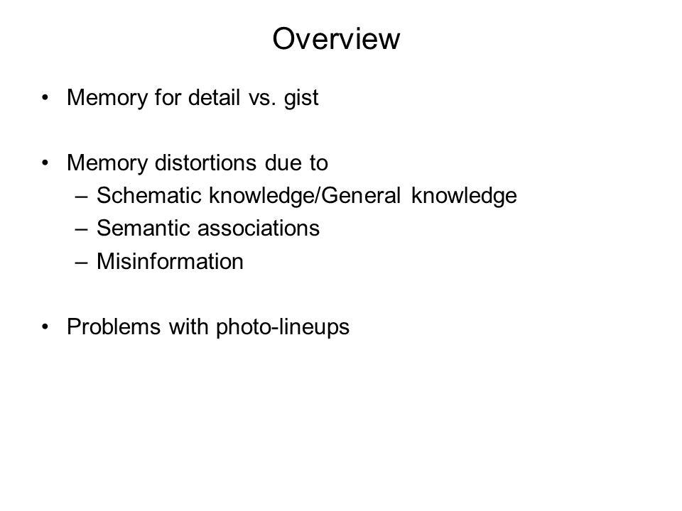 Memory part I Memory Distortions Eyewitness Testimony Lineup Studies