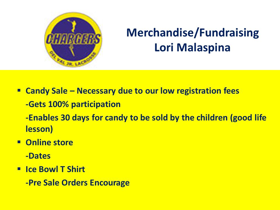 Merchandise/Fundraising Lori Malaspina  Candy Sale – Necessary due to our low registration fees -Gets 100% participation -Enables 30 days for candy t