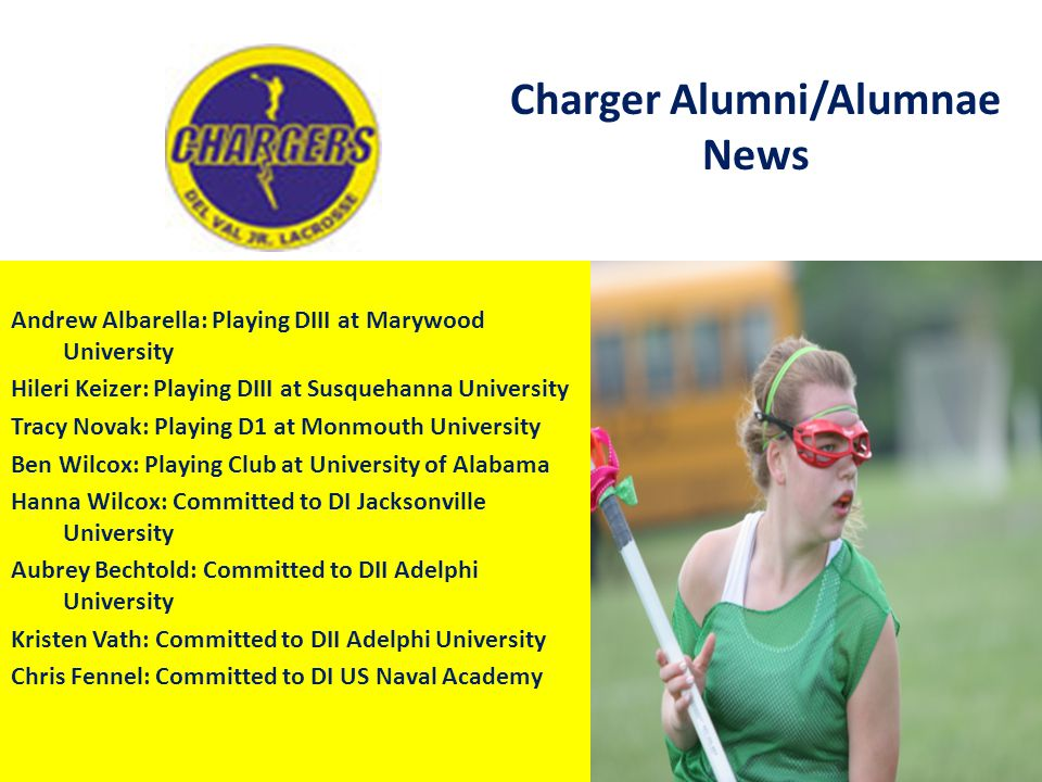 Charger Alumni/Alumnae News Andrew Albarella: Playing DIII at Marywood University Hileri Keizer: Playing DIII at Susquehanna University Tracy Novak: P