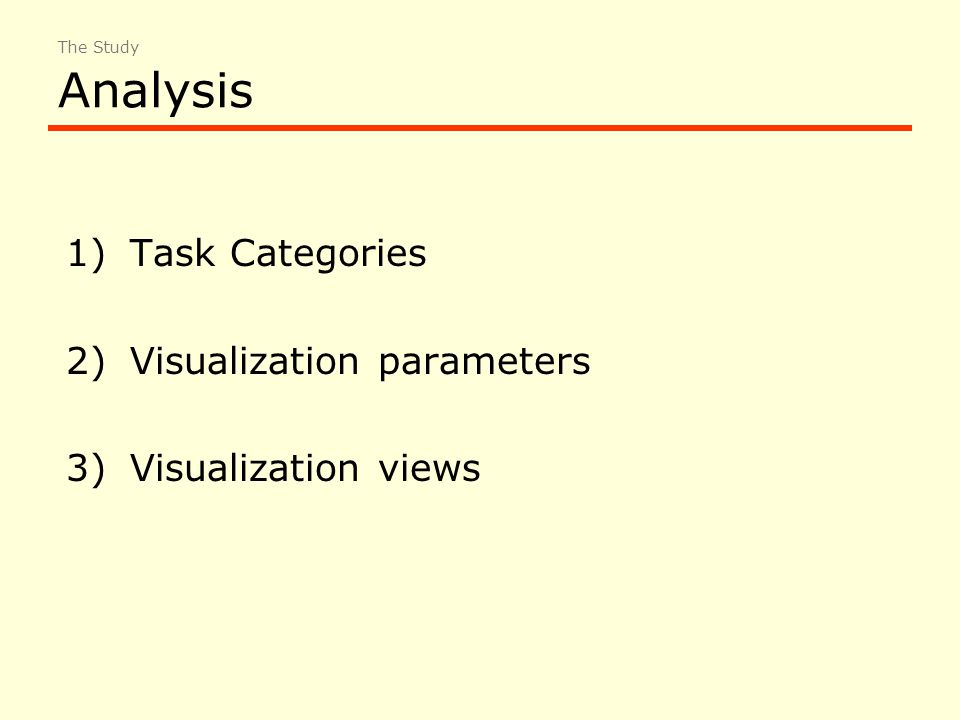 Analysis 1)Task Categories 2)Visualization parameters 3)Visualization views The Study