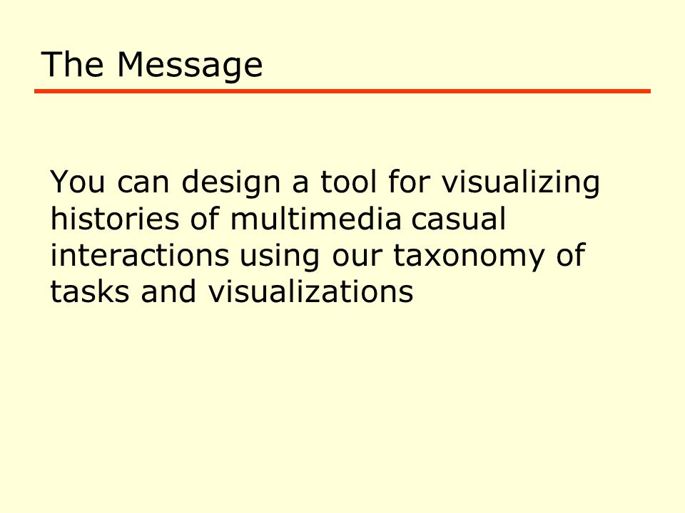 The Message You can design a tool for visualizing histories of multimedia casual interactions using our taxonomy of tasks and visualizations