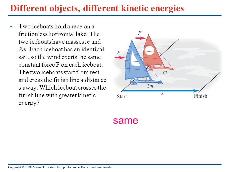 Copyright © 2008 Pearson Education Inc., publishing as Pearson Addison-Wesley Different objects, different kinetic energies Two iceboats hold a race o