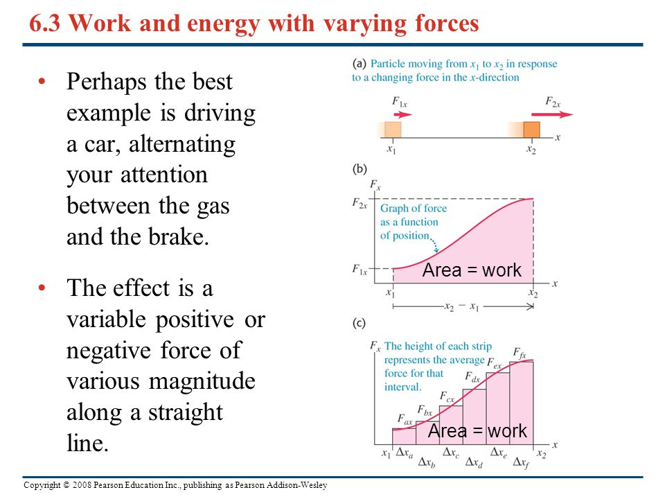 Copyright © 2008 Pearson Education Inc., publishing as Pearson Addison-Wesley 6.3 Work and energy with varying forces Perhaps the best example is driv