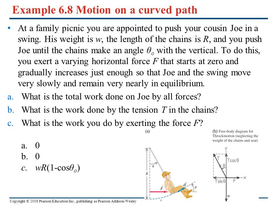 Copyright © 2008 Pearson Education Inc., publishing as Pearson Addison-Wesley Example 6.8 Motion on a curved path At a family picnic you are appointed