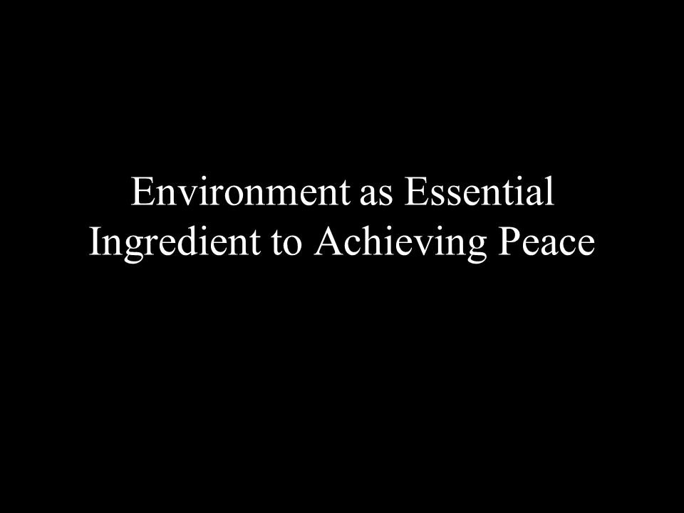 Environment as Essential Ingredient to Achieving Peace