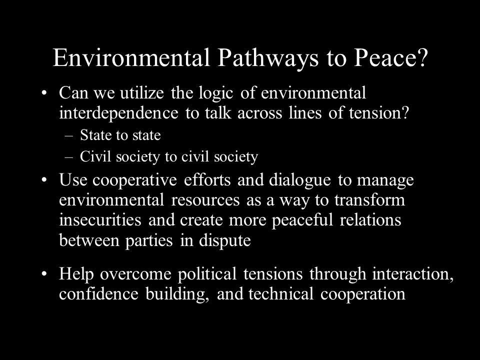 Environmental Pathways to Peace.