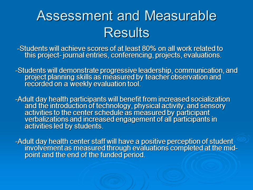 Assessment and Measurable Results -Students will achieve scores of at least 80% on all work related to this project- journal entries, conferencing, projects, evaluations.