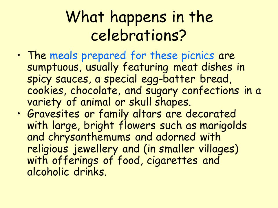 What happens in the celebrations? The meals prepared for these picnics are sumptuous, usually featuring meat dishes in spicy sauces, a special egg-bat