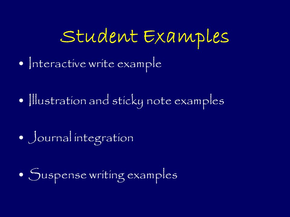 Student Examples Interactive write example Illustration and sticky note examples Journal integration Suspense writing examples