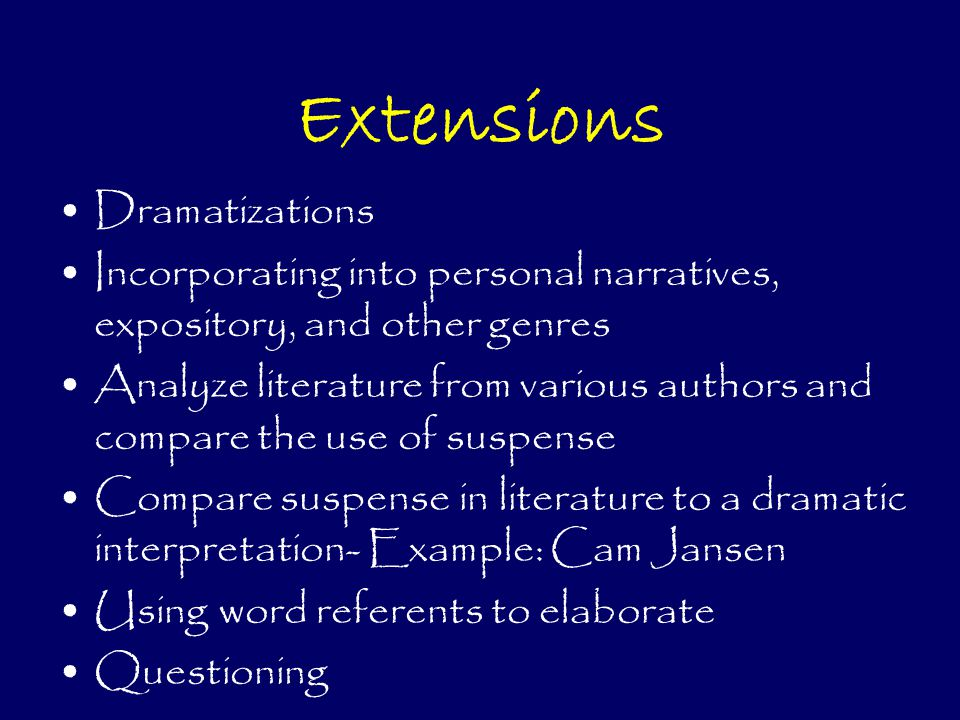 Extensions Dramatizations Incorporating into personal narratives, expository, and other genres Analyze literature from various authors and compare the use of suspense Compare suspense in literature to a dramatic interpretation- Example: Cam Jansen Using word referents to elaborate Questioning