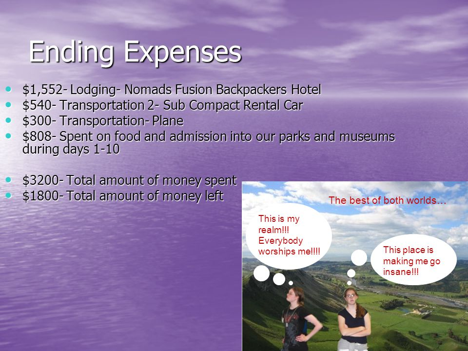 Ending Expenses $1,552- Lodging- Nomads Fusion Backpackers Hotel $1,552- Lodging- Nomads Fusion Backpackers Hotel $540- Transportation 2- Sub Compact Rental Car $540- Transportation 2- Sub Compact Rental Car $300- Transportation- Plane $300- Transportation- Plane $808- Spent on food and admission into our parks and museums during days 1-10 $808- Spent on food and admission into our parks and museums during days 1-10 $3200- Total amount of money spent $3200- Total amount of money spent $1800- Total amount of money left $1800- Total amount of money left This place is making me go insane!!.